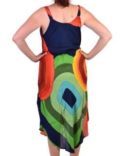 Dlouhé letní šaty na ramínka, tmavě modro-barevné