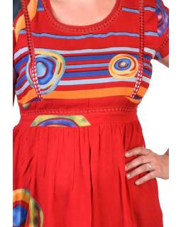 Dlouhé letní šaty s krátkým rukávem, červené