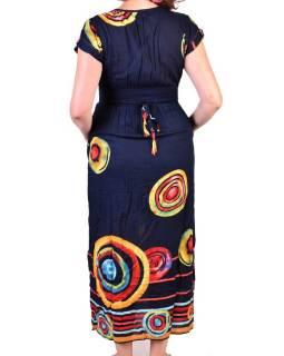 Dlouhé letní šaty s krátkým rukávem, tmavě modré