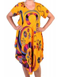 Tříčtvrteční letní šaty s krátkým rukávem, žluté