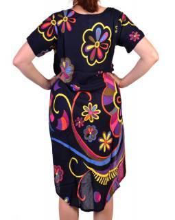 Tříčtvrteční letní šaty s krátkým rukávem, tmavě modrá