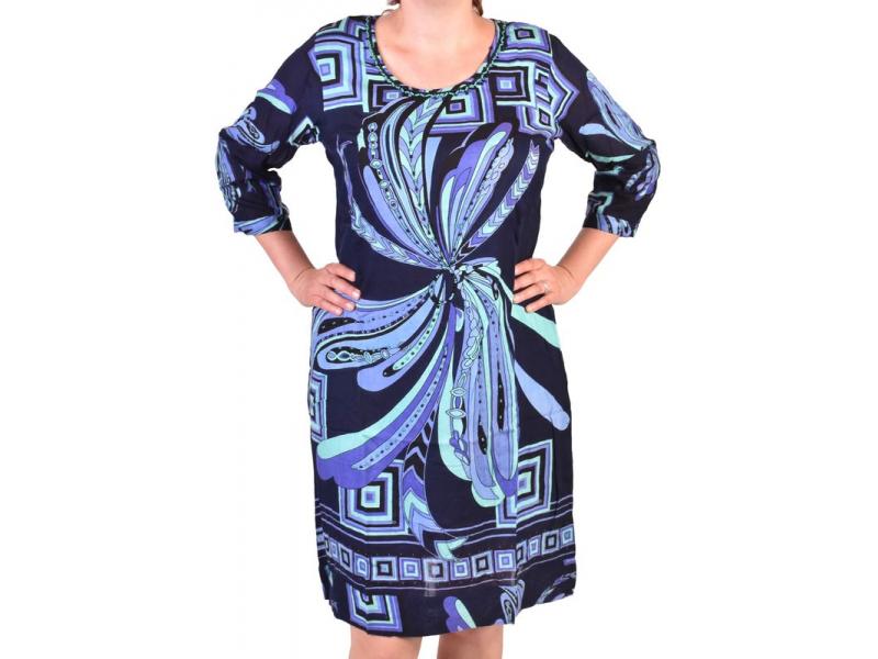 Černo-modré elegantní šaty s potiskem a ručně vyšívanými korálky, zip