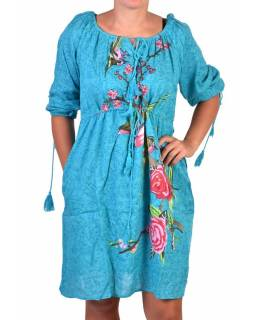 Tyrkysové letní šaty s potiskem, tříčtvrteční rukáv