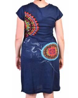 Tmavě modré šaty s potiskem, krátký rukáv