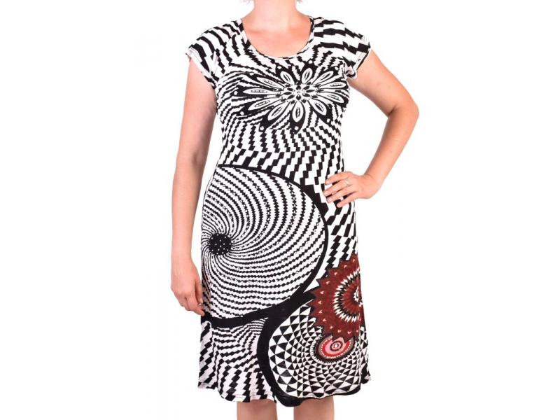 Černo-bílé šaty s potiskem a ručně vyšívanými korálky