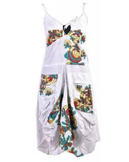 """Dlouhé bílé balonové šaty """"Flower design"""", ramínka, kapsy"""