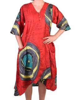 Dlouhé červené letní šaty/halena, květinový potisk