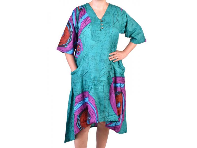 Dlouhé tyrkysové letní šaty/halena, květinový potisk