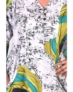 Dlouhé bílé letní šaty/halena, květinový potisk