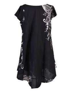 Dlouhé černé letní šaty/halena, květinový potisk