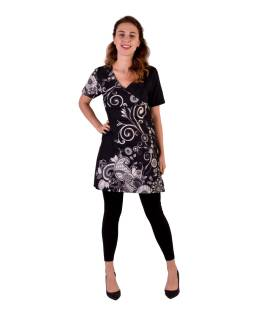 Mini černé bavlněné šaty s potiskem, pevná lehká bavlna