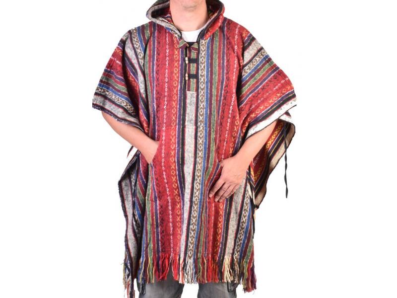 Tibetské pončo z česané bavlny, kapsy, kapuca, červená