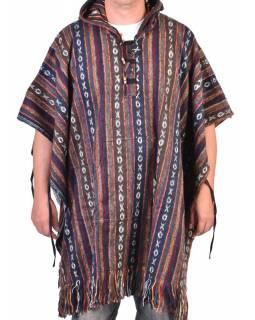 Tibetské pončo z česané bavlny, kapsy, kapuca, multibarevná