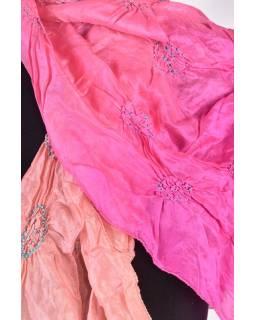 Luxusní hedvábný šál v meruňkových tónech, uzlíková batika, cca 150x50cm