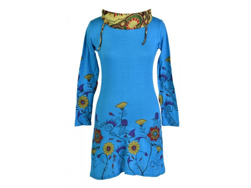 Tyrkysové šaty s dlouhým rukávem a vysokým límce, Flower design, potisk a výšivk