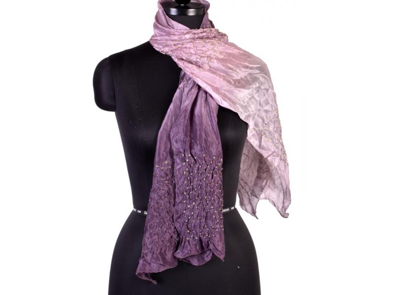 Luxusní hedvábný šál ve fialových tónech, uzlíková batika, cca 150x50cm
