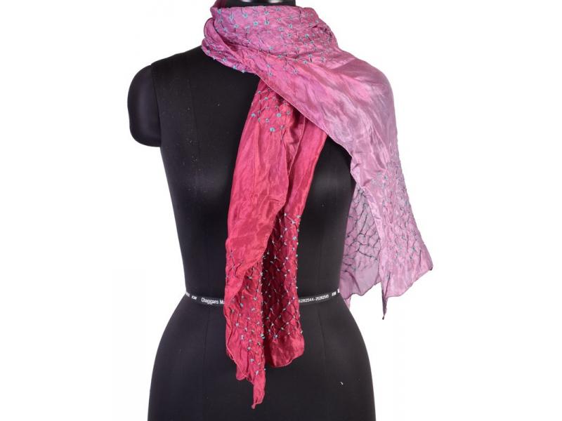Luxusní hedvábný šál ve fialovo vínových tónech, uzlíková batika, cca 150x50cm