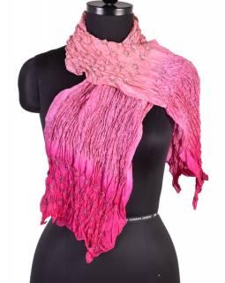 Luxusní hedvábný šál ve růžových tónech, uzlíková batika, cca 150x50cm