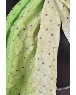 Luxusní hedvábný šál v zelených tónech, uzlíková batika, cca 150x50cm