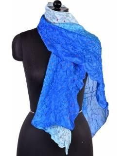 Luxusní hedvábný šál v modrých tónech, uzlíková batika, cca 150x50cm