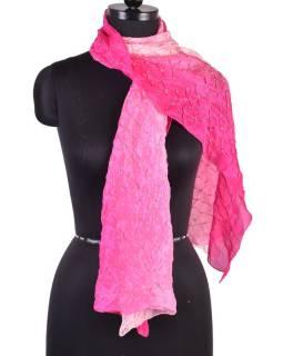 Luxusní hedvábný šál v růžových tónech, uzlíková batika, cca 150x50cm