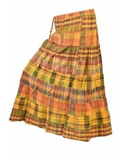 """Dlouhá sukně, """"Patchwork design"""", žlutá, stonewash, pružný pas"""