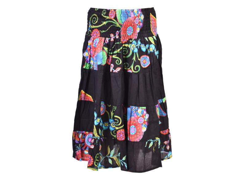 Dlouhá černá sukně s potiskem, žabičkování