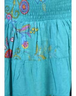 Dlouhá tyrkysová sukně s potiskem, žabičkování