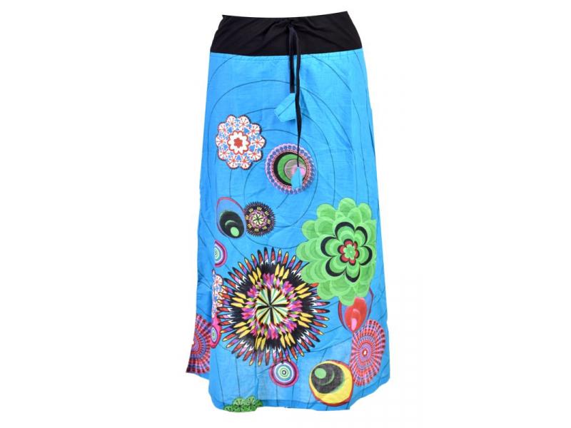 Dlouhá tyrkysová sukně s potiskem, elastický pas, šňůrka