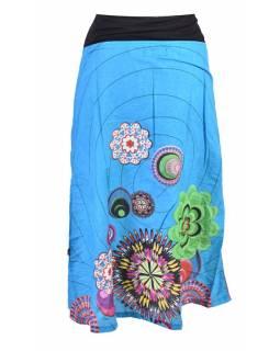 Tříčtvrteční tyrkysová sukně s potiskem, elastický pas, šňůrka