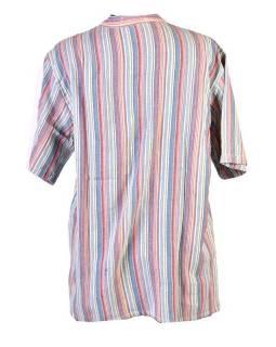 Pruhovaná pánská košile-kurta s krátkým rukávem a kapsičkou, barevná