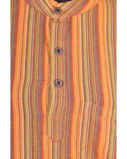 Pruhovaná pánská košile-kurta s krátkým rukávem a kapsičkou, oranživá