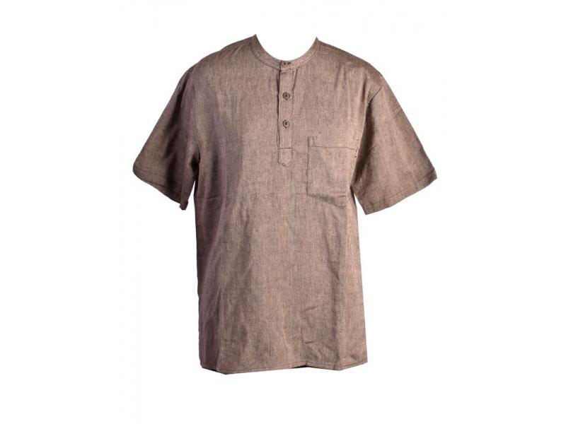 Hnědo-šedá pánská košile-kurta s krátkým rukávem a kapsičkou