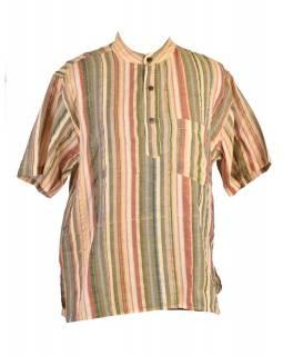 Pánská bavlněná košile, sai sakar, krátký rukáv, žluto-zelená