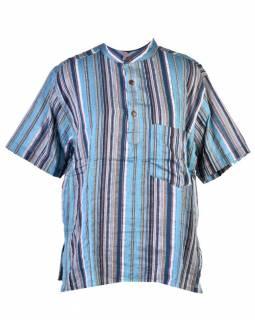 Pánská bavlněná košile, sai sakar, krátký rukáv, modrá