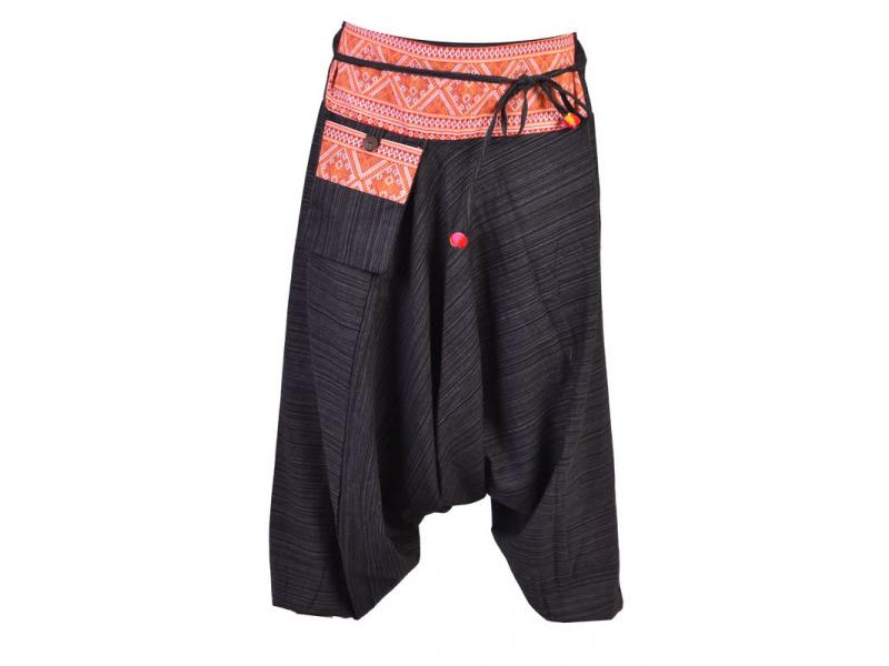 Černé thajské turecké kalhoty s potiskem, kapsa, bambulky