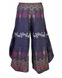 Tmavě modré thajské zvonové kalhoty, ornamentální potisk, kapsa, bambulky