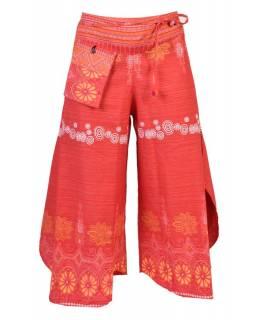 Vínové thajské zvonové kalhoty, ornamentální potisk, kapsa, bambulky
