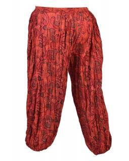 Dlouhé balonové kalhoty s potiskem květin, červené, mačkaná úprava