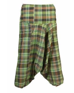 """Turecké kalhoty, """"Patchwork design"""", zelená, stonewash, pružný pas"""