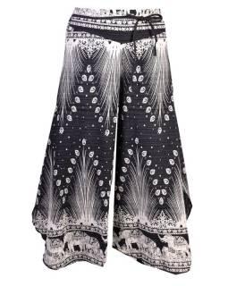 Černo-bílé thajské zvonové kalhoty, orientální potisk, elastický pas