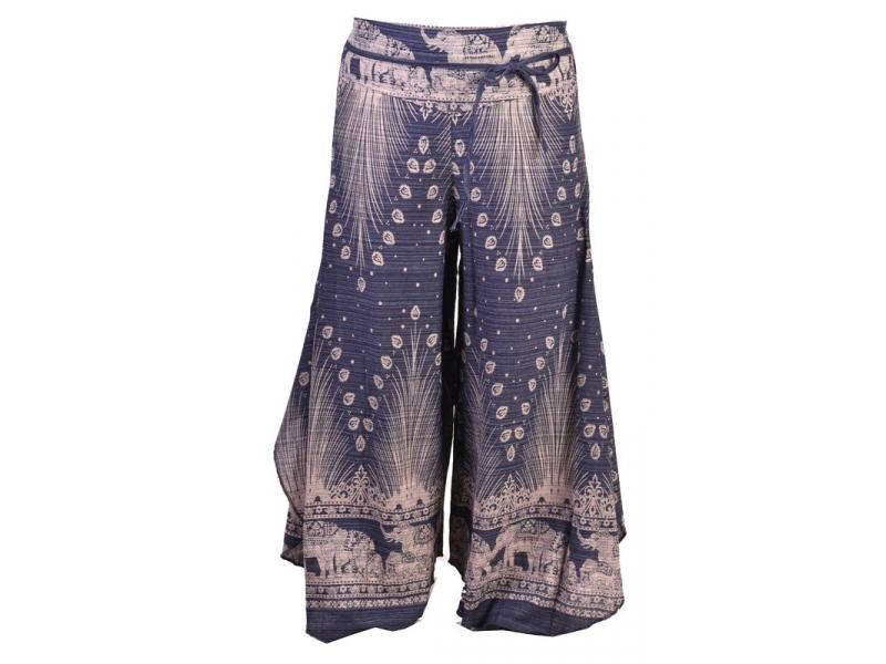 Tmavě modré thajské zvonové kalhoty, orientální potisk, elastický pas