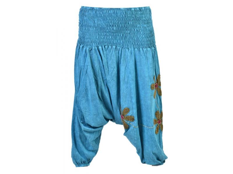 Tyrkysové turecké kalhoty se zeleno-červenými květinami, výšivka, bobbin