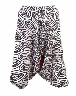 Letní tříčtvrteční turecké kalhoty s potiskem, šňůrka, elastický pas, černá-bílá