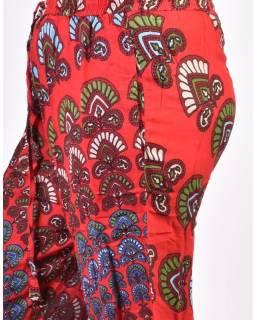 Dlouhé letní červené kalhoty s potiskem, elastický pas