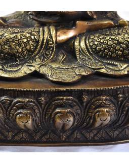 Buddha Amogadiši, antik zlatá patina, mosazná socha, 39cm