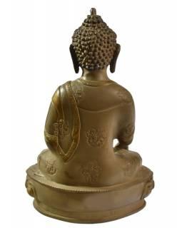 Buddha Šákjamuni, antik kamenná patina, mosazná soška, 32cm