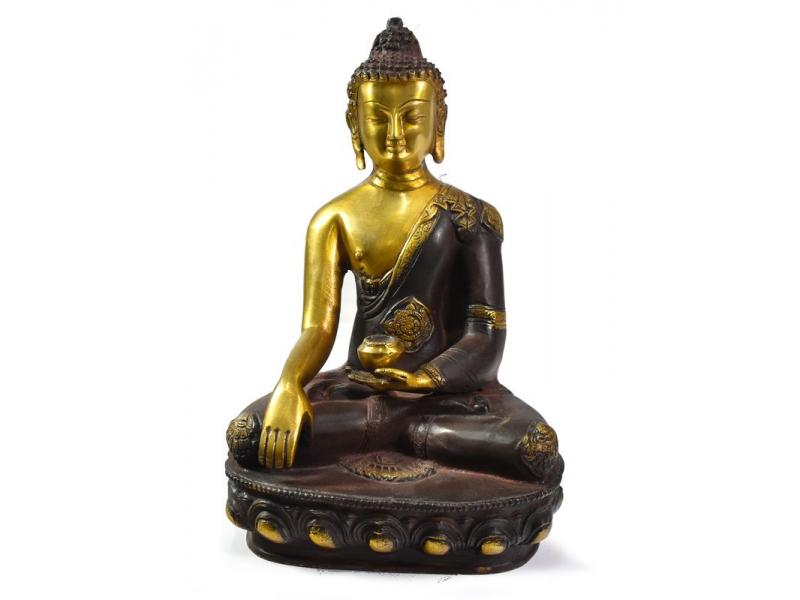 Buddha Šákjamuni, antik zlatá patina, mosazná soška, 30cm