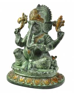 Ganéša, antik měděná patina, mosazná socha, 21 cm