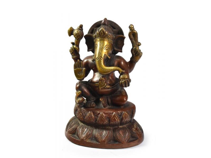 Ganéša, zlotočervená patina, mosazná socha, 16 cm